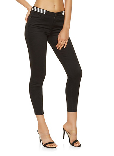 Almost Famous Striped Tape Trim Skinny Jeans,BLACK,large