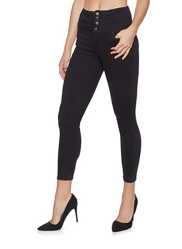 Almost Famous High Waisted Jeans,BLACK,large