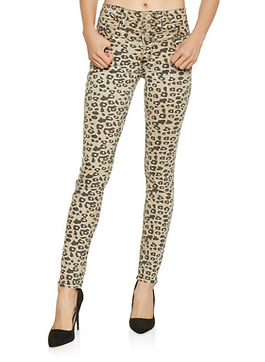 Almost Famous Leopard Print Jeans,BROWN,large