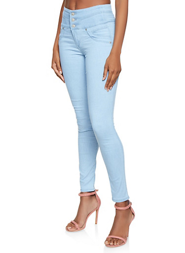 Almost Famous Curved Waist Skinny Jeans,LIGHT WASH,large