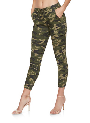 Almost Famous Camo Cargo Joggers,OLIVE,large
