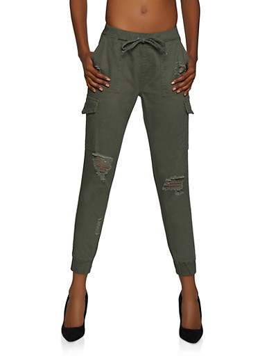 Almost Famous Distressed Cargo Joggers,OLIVE,large