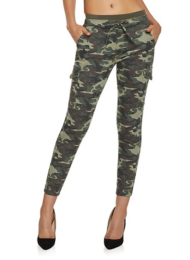Almost Famous Knit Waist Camo Joggers,OLIVE,large