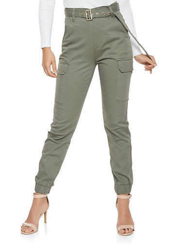 Belted Cargo Joggers,OLIVE,large
