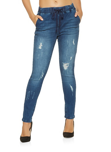 Almost Famous Elastic Waistband Jeans,DARK WASH,large