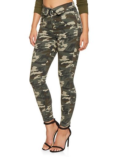Almost Famous High Waisted Camo Jeans,GREEN,large