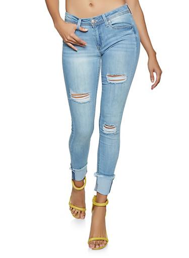Almost Famous Frayed Hem Skinny Jeans,LIGHT WASH,large