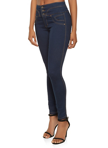 Almost Famous Curved Waist Skinny Jeans,MEDIUM WASH,large
