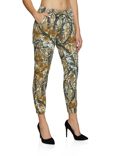 Almost Famous Forest Camo Print Joggers,OLIVE,large