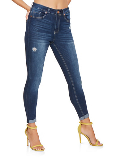 Almost Famous High Waisted Distressed Jeans,DARK WASH,large