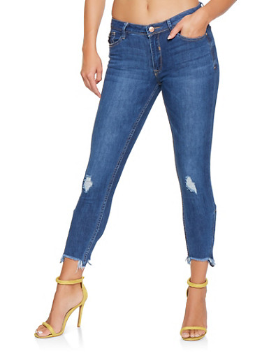 Almost Famous Zip Ankle Jeans,DARK WASH,large