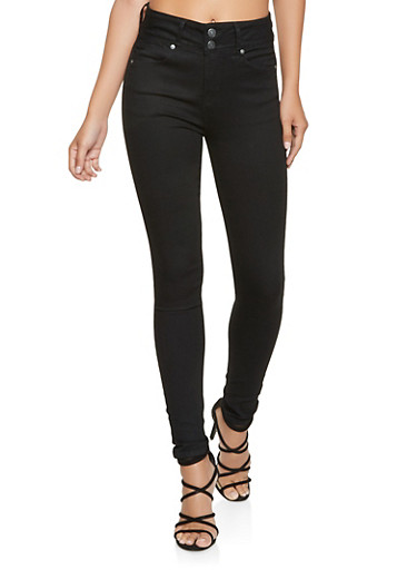 Almost Famous 2 Button Push Up Skinny Jeans,BLACK,large