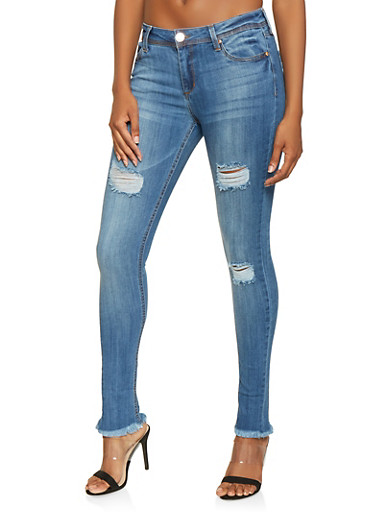 Almost Famous Frayed Jeans,MEDIUM WASH,large