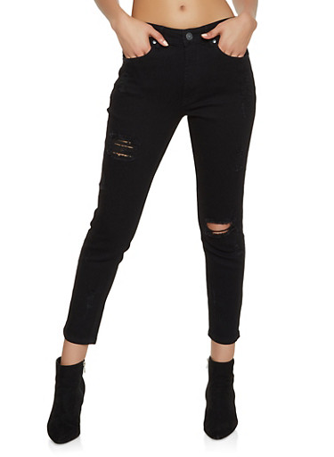 Almost Famous Distressed Jeans,BLACK,large