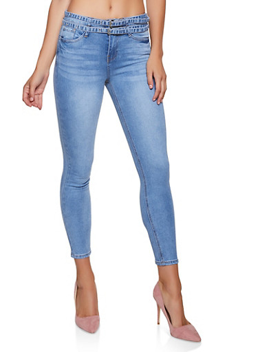 Almost Famous Double Belted Jeans,MEDIUM WASH,large