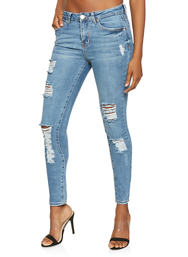 Almost Famous Destroyed High Waisted Jeans,LIGHT WASH,large