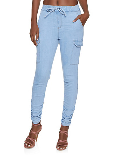 Almost Famous Ruched Cargo Denim Pants,LIGHT WASH,large