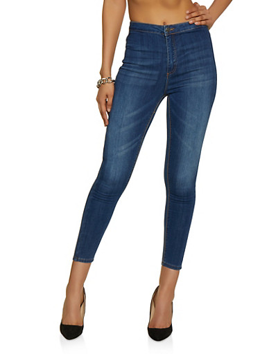 Almost Famous High Waisted Stretch Skinny Jeans,MEDIUM WASH,large