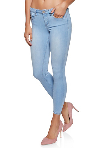 Almost Famous Solid Skinny Jeans,LIGHT WASH,large