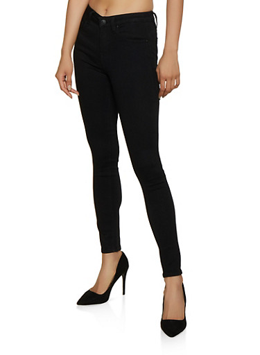 Almost Famous Basic Skinny Jeans,BLACK,large
