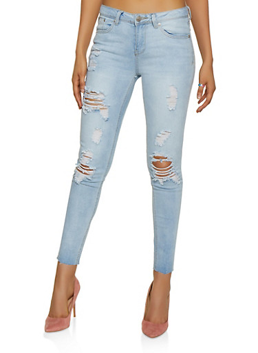 Almost Famous Destroyed Raw Hem Jeans,LIGHT WASH,large