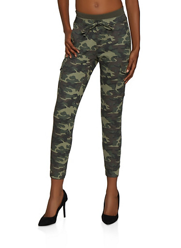 Almost Famous Rib Knit Band Camo Cargo Joggers,OLIVE,large