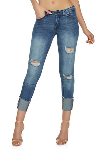 Almost Famous Fixed Cuff Jeans,DARK WASH,large