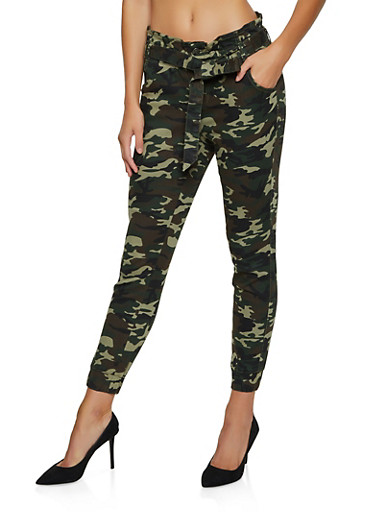 Almost Famous Camo Tie Front Joggers,OLIVE,large
