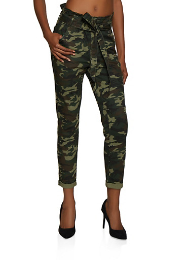 Almost Famous Camo Paper Bag Waist Jeans,GREEN,large