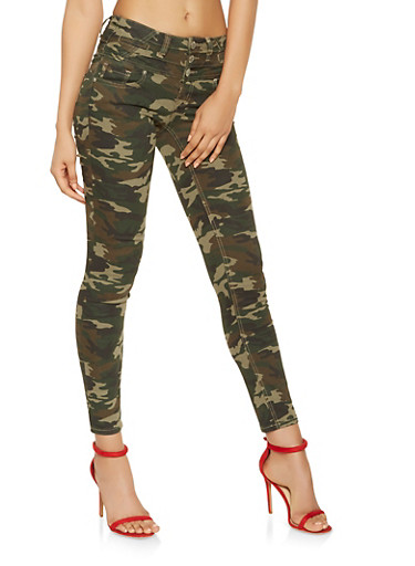 Almost Famous Camo Skinny Jeans,OLIVE,large