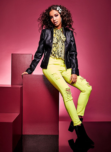 Almost Famous Destroyed Neon Skinny Jeans,NEON YELLOW,large