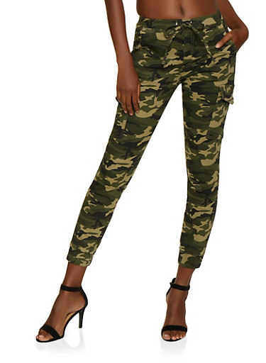 Almost Famous Camo Cargo Denim Joggers,GREEN,large