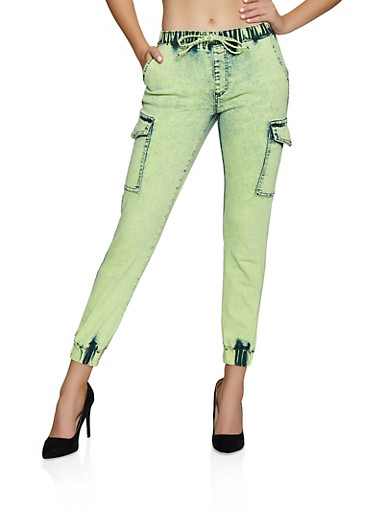 Almost Famous Neon Denim Cargo Joggers,LIME,large