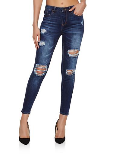 Almost Famous Whiskered Destruction Skinny Jeans,DARK WASH,large