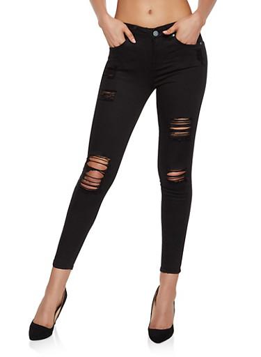 Almost Famous Destruction Skinny Jeans | Black,BLACK,large