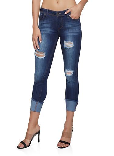 Almost Famous Distressed Raw Hem Skinny Jeans,DARK WASH,large