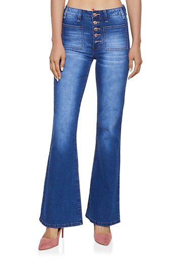 Almost Famous Whisker Wash Flared Jeans,MEDIUM WASH,large