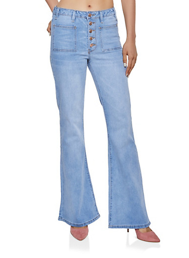Almost Famous 5 Button Flared Jeans,LIGHT WASH,large