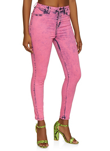 Almost Famous Neon Acid Wash Jeans,NEON PINK,large