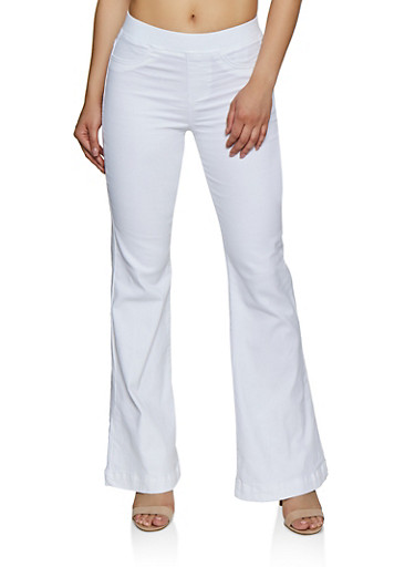 Flared Pull On Jeans,WHITE,large
