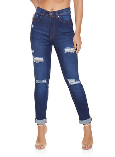High Waisted Roll Cuff Skinny Jeans,DARK WASH,large