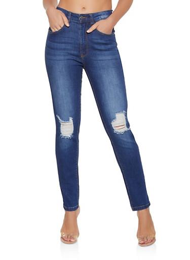Destroyed High Waisted Skinny Jeans,DARK WASH,large