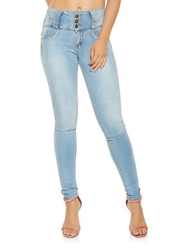 Studded High Waisted Push Up Jeans,LIGHT WASH,large