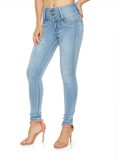 3 Button High Waisted Push Up Jeans,LIGHT WASH,large