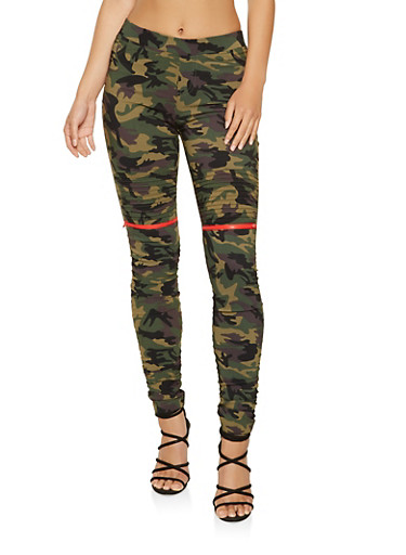 Ruched Camo Jeggings,CAMOUFLAGE,large