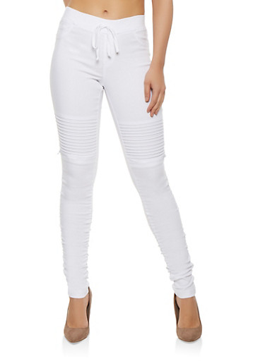 Solid Ruched Moto Jeggings,WHITE,large