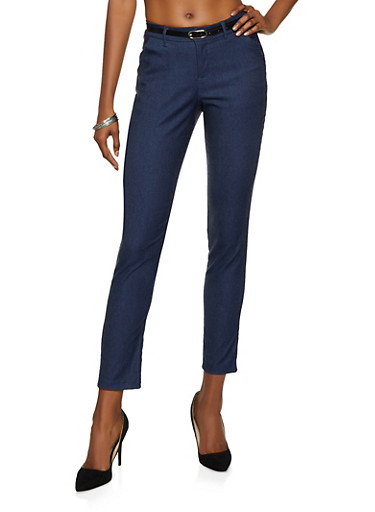 Belted Stretch Dress Pants,NAVY,large