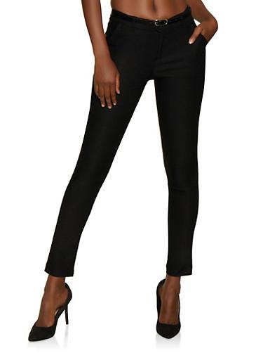 Belted Stretch Skinny Dress Pants,BLACK,large