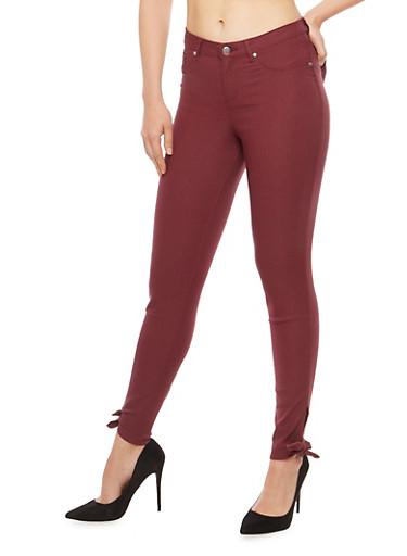 Tie Bottom Skinny Pants,WINE,large