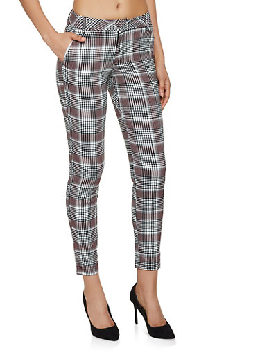 Textured Knit Plaid Dress Pants,RED,large